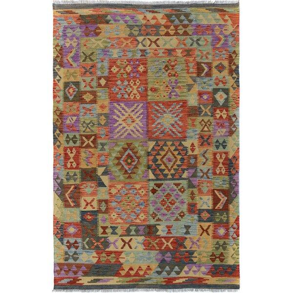 Rosalina Handmade-Kilim Wool Purple/Rust Area Rug by Bloomsbury Market