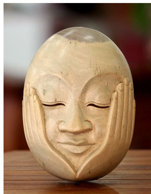 Novica Hear No Evil Wood Mask Wall Décor | Wayfair