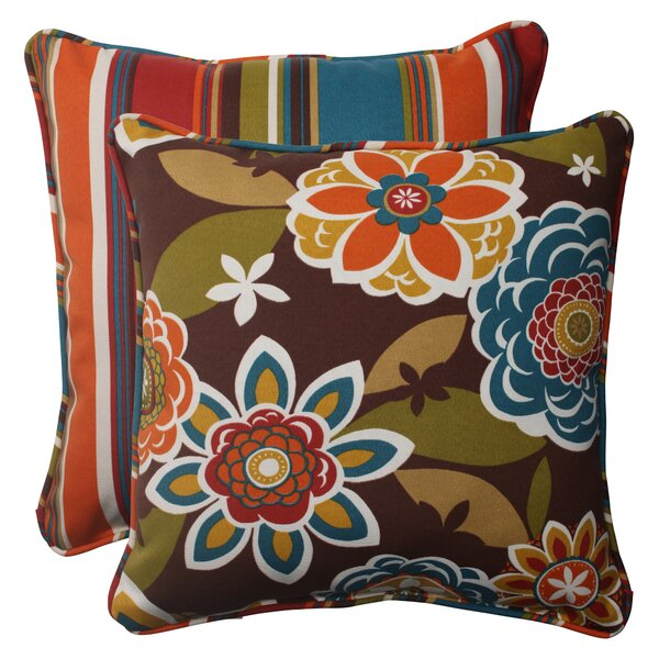 Annie / Westport Reversible Corded Outdoor Throw Pillow (Set of 2) by Pillow Perfect