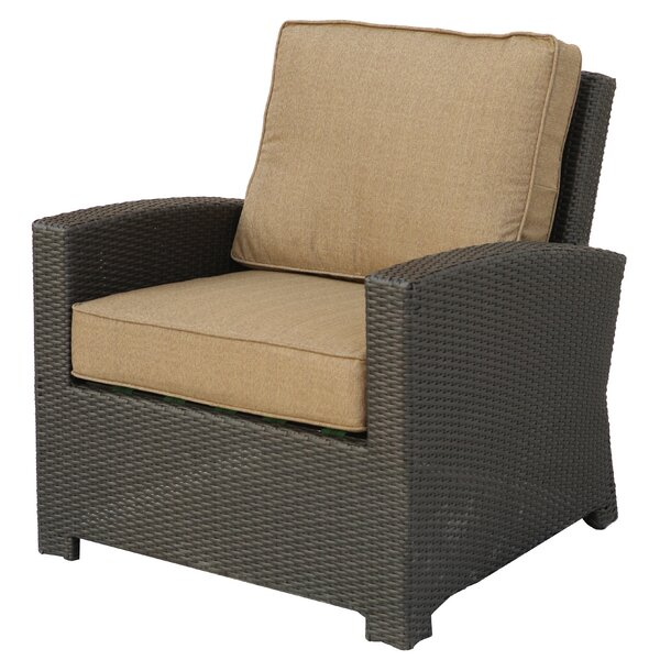 Leonore Wicker Club Chair with Cushion by Alcott Hill