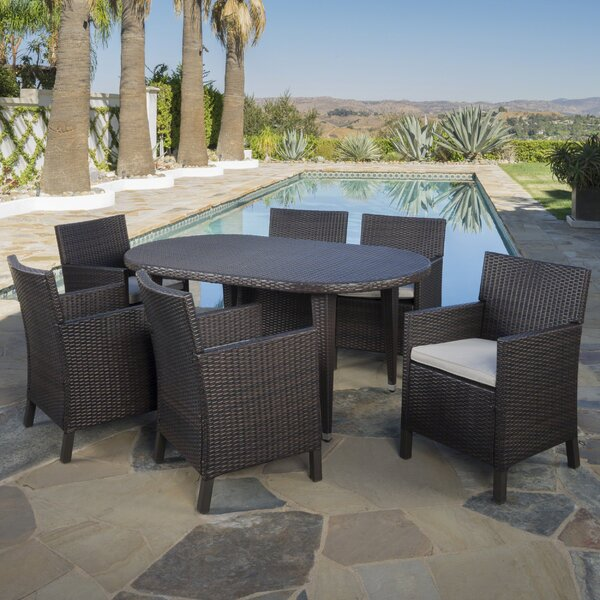 Rhawnhurst Outdoor 7 Piece Dining Set with Cushions by Red Barrel Studio