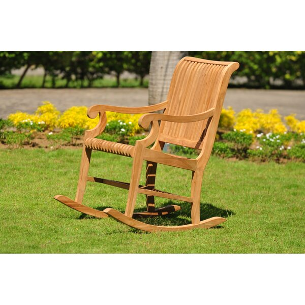 Malakia Grade A Outdoor Teak Rocking Chair by Highland Dunes