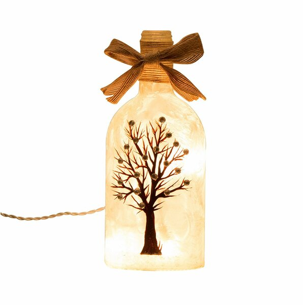 Handcrafted Frosted Tree Glass Mason Jar Light Lamp by Glitzhome