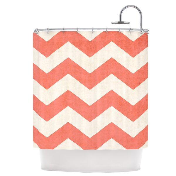 Vintage Coral Shower Curtain by East Urban Home