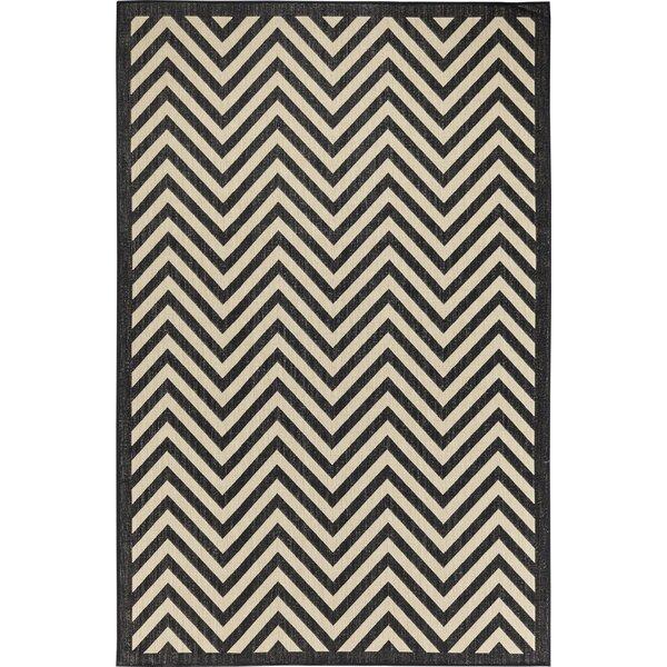 Caesar Chevron/Beige/Black Indoor/Outdoor Area Rug by Ebern Designs