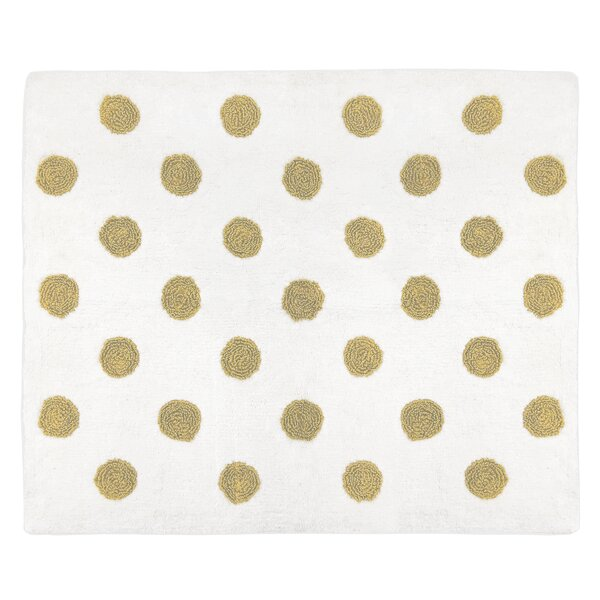 Polka Dot Hand-Tufted Cotton Gold/White Floor Rug by Sweet Jojo Designs