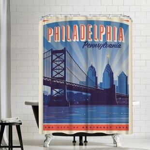 Philly Skyline Shower Curtain ByEast Urban Home