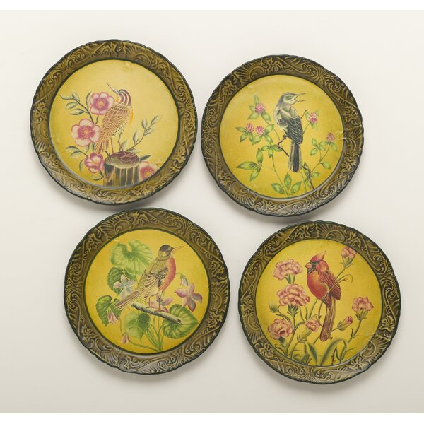 4 Piece Handpainted Bird Plate Set by AA Importing
