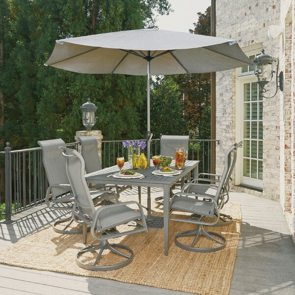 Dinapoli Outdoor 7 Piece Dining Set with Umbrella by Red Barrel Studio