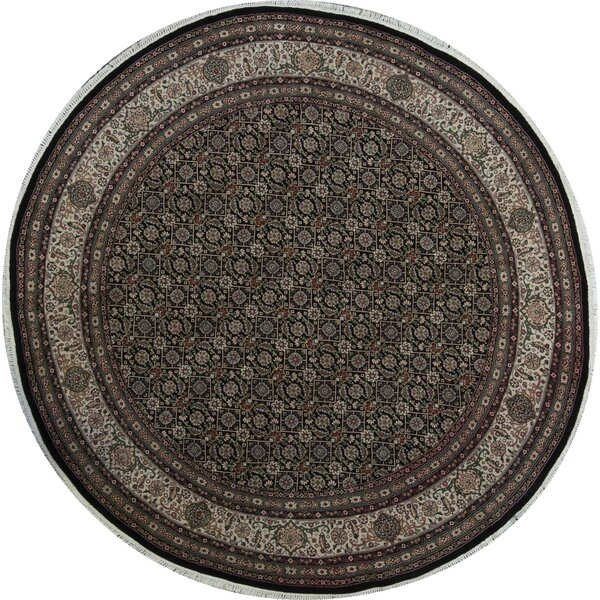 Round Oriental Hand-Knotted Wool Black/Black Area Rug