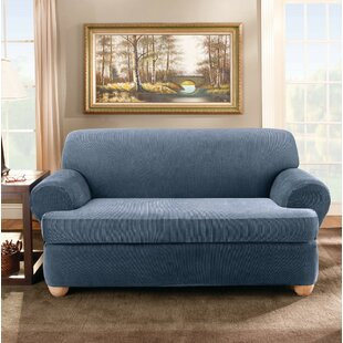 Stretch Stripe T-Cushion Loveseat Slipcover