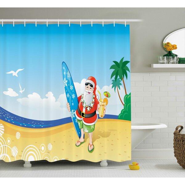 Christmas Santa on Beach Surf Shower Curtain by The Holiday Aisle