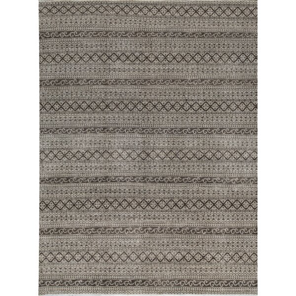 Sultanabad Striped Hand-Knotted Wool Black Area Rug