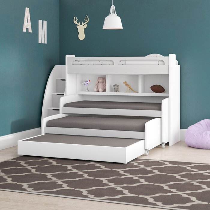 Gautreau Twin L Shaped Bunk Bed With Trundle Bookcase And Drawers