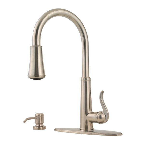 Ashfield Pull Down Single Handle Kitchen Faucet with Soap Dispenser by Pfister
