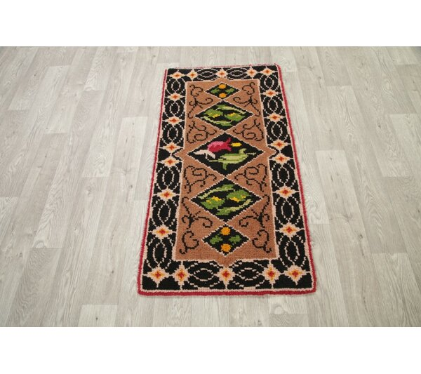 Woodstock Kazak Traditional Classical Oriental Hand-Knotted Wool Black/Green/Brown Area Rug by Bloomsbury Market