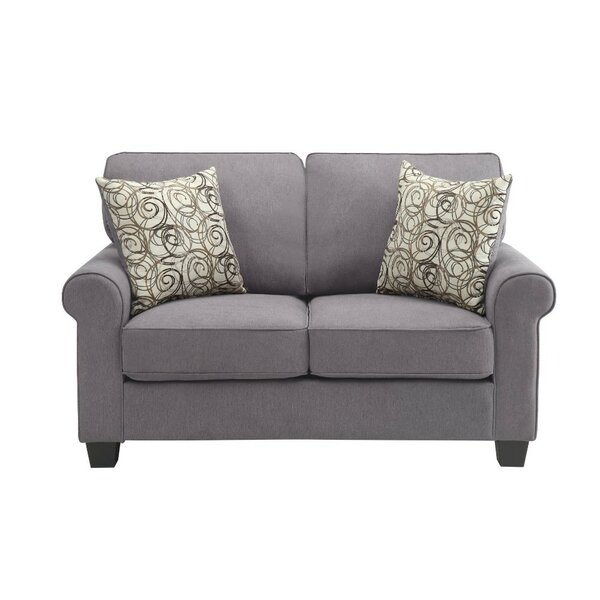 Isidro Polyester Upholstered Wooden Loveseat With 2 Pillows, Gray by Charlton Home