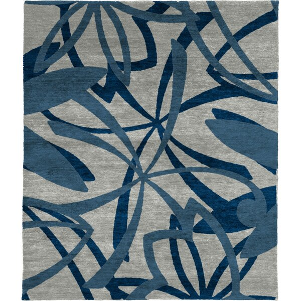 One-of-a-Kind Leis Hand-Knotted Traditional Style Gray/Blue 12' x 18' Wool Area Rug