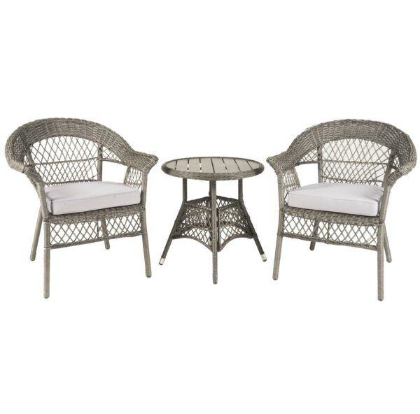 Yunpeng 3 Piece Bistro Set with Cushions by Highland Dunes