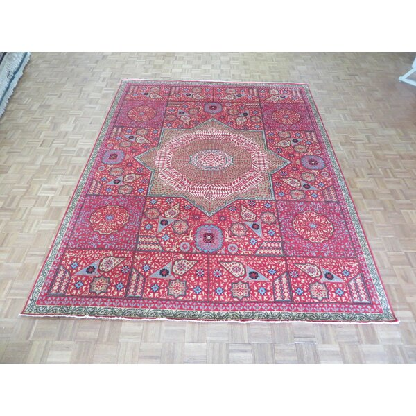 One-of-a-Kind Pagan Hand-Knotted Wool Red Area Rug by Bloomsbury Market
