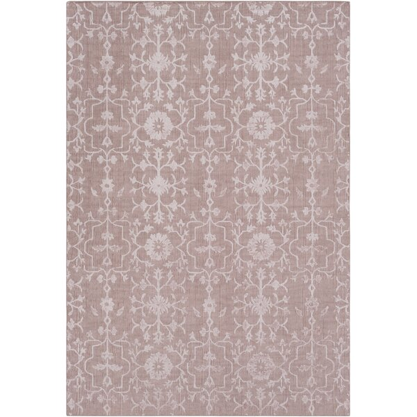 Anwen Hand-Knotted Blush/Rose Area Rug by Ophelia & Co.