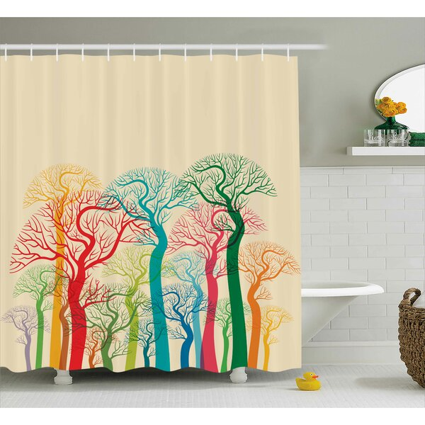 Garrett Colorful Abstract Trees Shower Curtain by Ebern Designs
