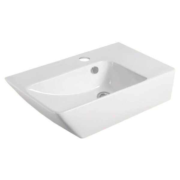 Ceramic Rectangular Wall Mount Bathroom Sink with Overflow