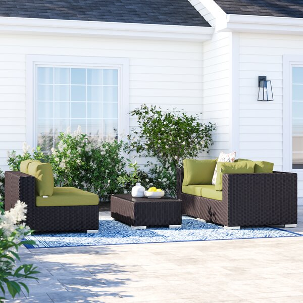 Brentwood 5 Piece Rattan Sectional Seating Group with Cushions by Sol 72 Outdoor