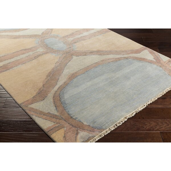 Larache Hand-Knotted Yellow/Brown Area Rug by Bungalow Rose