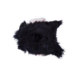 Barnaby Long-Haired Hand-Woven Sheepskin Black/White Area Rug ByHouse of Hampton