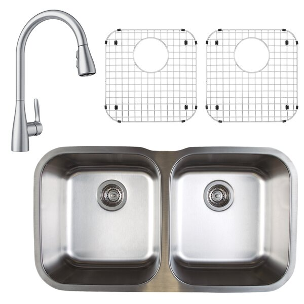 Stellar 33 L x 19 W Double Basin Undermount Kitchen Sink with Faucet, Sink Grid and Sink Strainer by Blanco