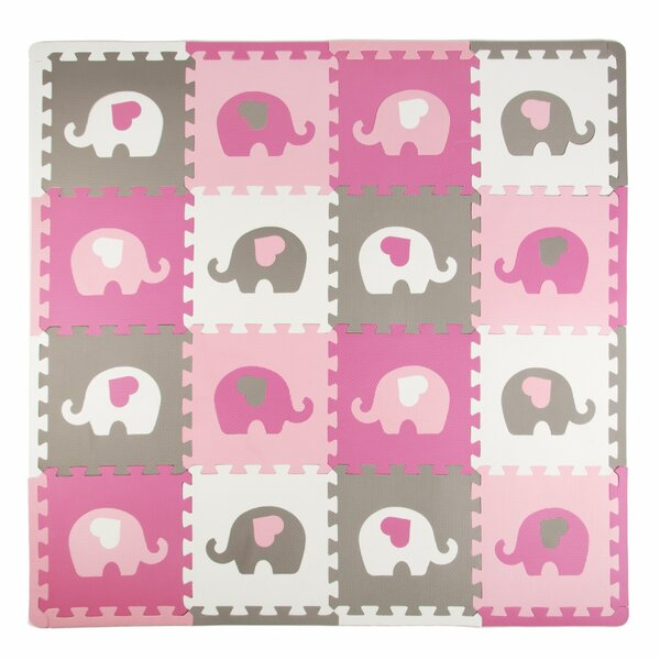 Elephants with Hearts 16 Piece Floor Mat by Tadpoles