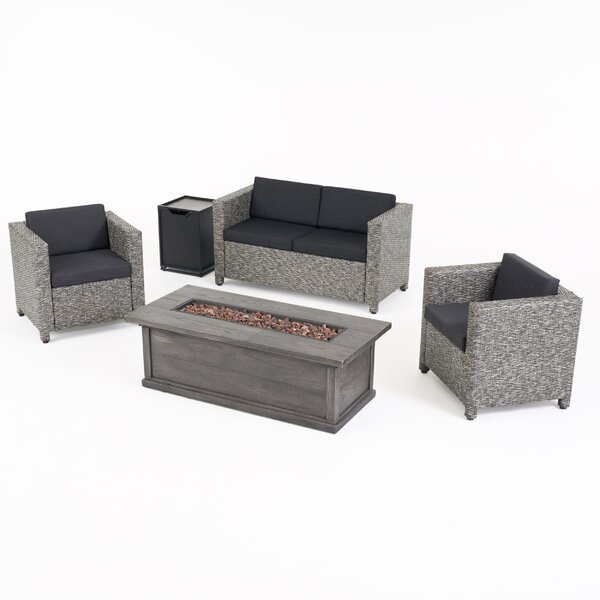 Tacoma Outdoor 5 Piece Sofa Seating Group with Cushions by Breakwater Bay