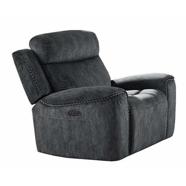 Fabric Upholstered Manual Glider Recliner With Nailhead Trim,Black W000416832
