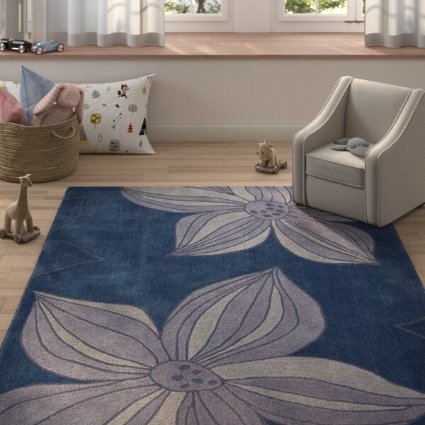 Gideon Hand-Tufted Blue Area Rug by Harriet Bee