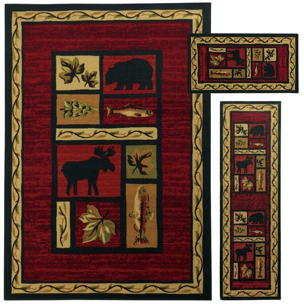 Westview 3 Piece Red/Black Area Rug Set by Threadbind