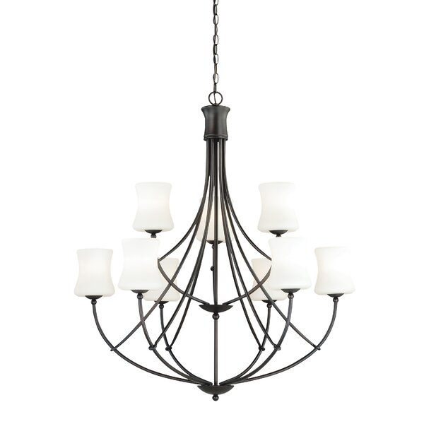 Porcaro 9 - Light Shaded Tiered Chandelier By Loon Peak