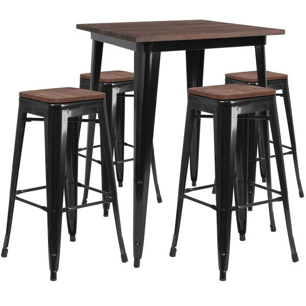 Presswood 5 Piece Pub Table Set by Williston Forge