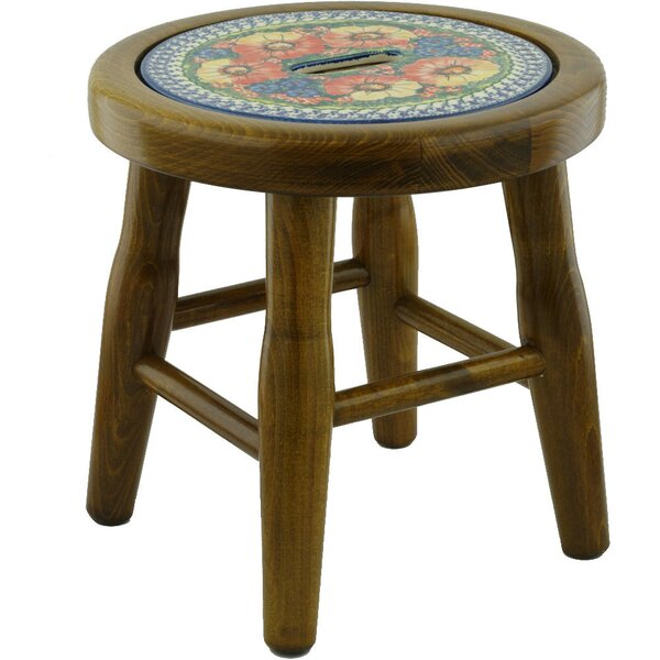 Mystical Garden Polish Pottery Accent Stool by Polmedia