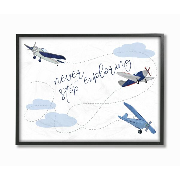 Hartford Never Stop Exploring Airplanes Framed Art by Harriet Bee