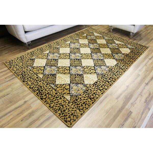 Passion Leopard Gold/Black Area Rug by Beyan Signature