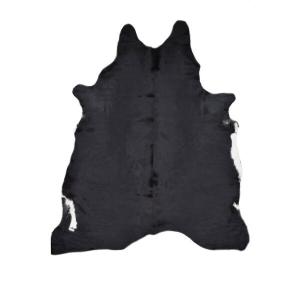 Cagle Cowhides Solid Black Area Rug by Williston Forge