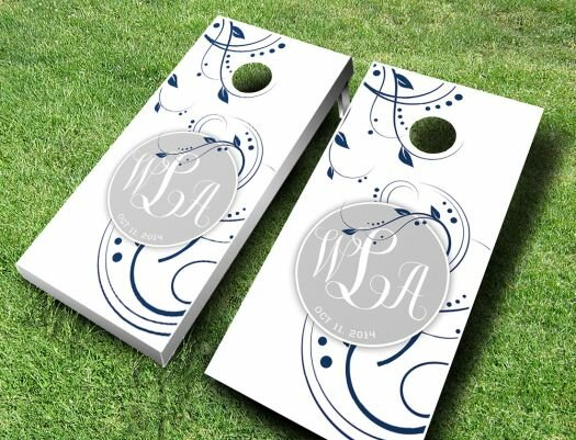 Wedding Floral Monogram Cornhole Set by AJJ Cornhole