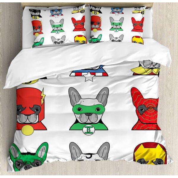 Superhero Bulldog Duvet Set by Ambesonne