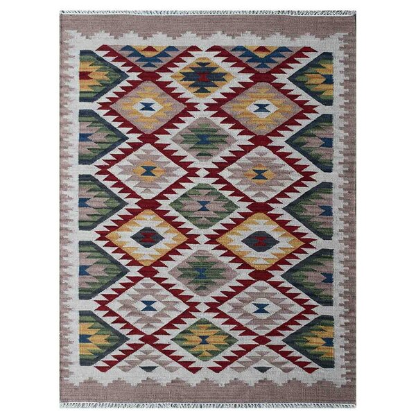 St Catherine Handmade Kilim Wool Red/Green Area Rug by Millwood Pines