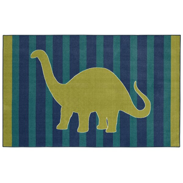Brynn Friendly Dinosaur Blue Kids Rug by Viv + Rae