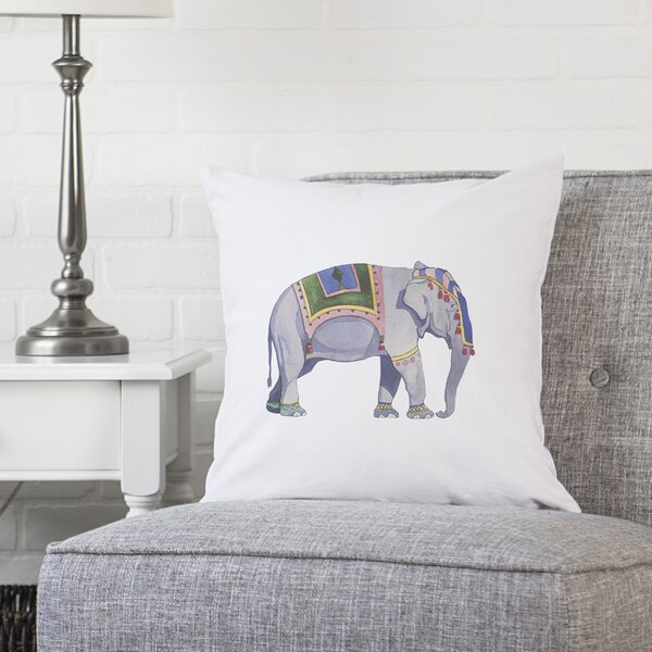 Calantha Elephant Throw Pillow by World Menagerie