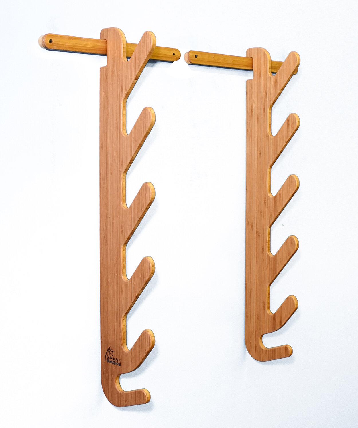 Grassracks Bamboo Snowboard Wall Rack for 4 Snowboards or Longboards Molokai Quad