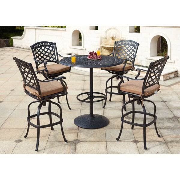 Thompson 5 Piece Bar Height Dining Set with Cushions by Alcott Hill
