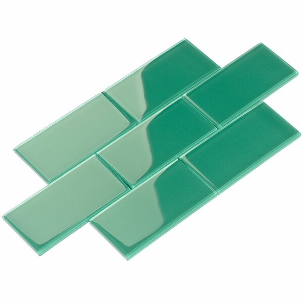 3 x 6 Glass Subway Tile in Emerald Green by Giorbello